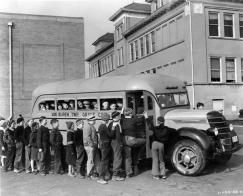 black and white school bus image