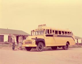 L-53 schoolmaster bus -- residential stop -- 1953