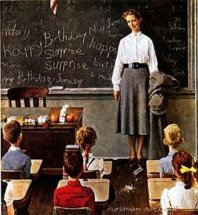 rockwell -- female teacher and elementary students