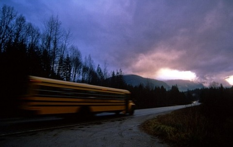 school bus driving in low light
