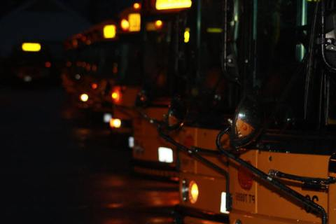 school bus fleet in darkness -- valleyvoice