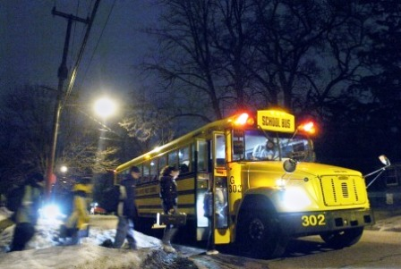 school bus in dark -- schoolbusdriver.org
