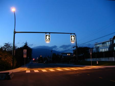 Crosswalk in Burnaby British Columbia Canada