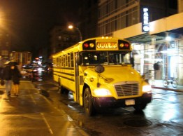 school bus at night