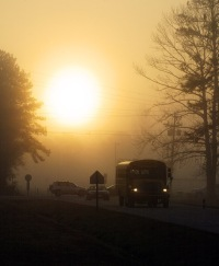 school bus heads down methodist drive toward havelock on a foggy morning