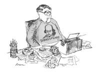 edward-koren-writer-wears-a-shakespeare-sweatshirt-as-he-works-over-a-typewriter-new-yorker-cartoon