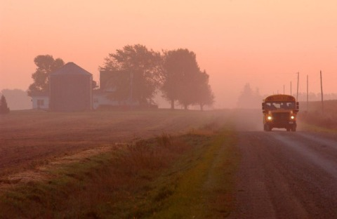Iowa Farm Bureau -- school bus country road